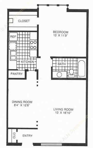 777 sq. ft. C1 floor plan