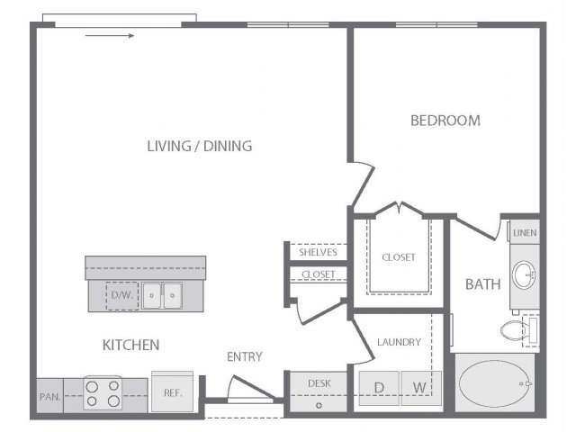 775 sq. ft. to 846 sq. ft. A6 floor plan