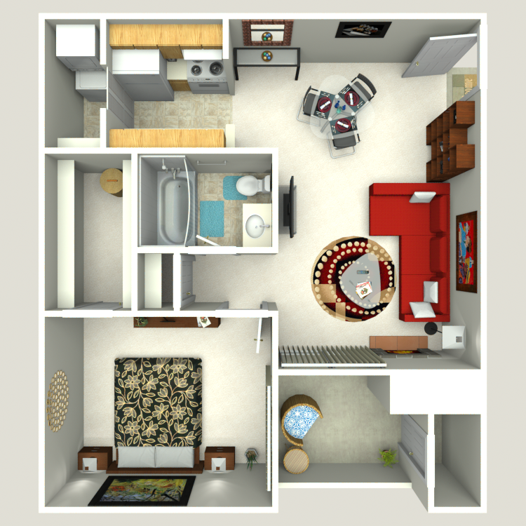 603 sq. ft. A-2 floor plan