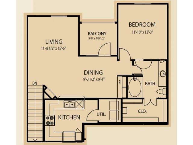 925 sq. ft. A8 floor plan