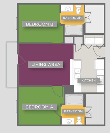 769 sq. ft. B1 floor plan