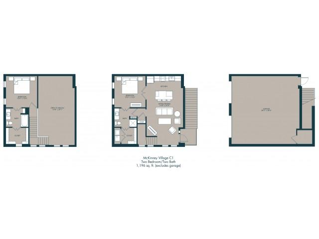1,196 sq. ft. C1 floor plan