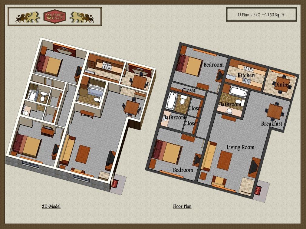1,150 sq. ft. D floor plan