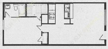 672 sq. ft. A2b floor plan