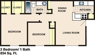 854 sq. ft. floor plan