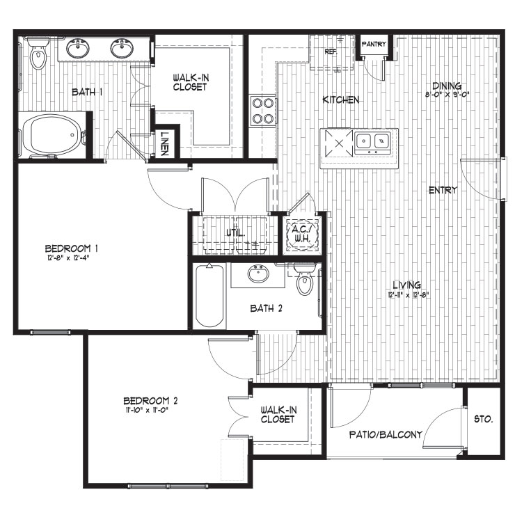 1,078 sq. ft. B2 floor plan