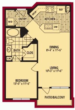 702 sq. ft. MILAN ALT floor plan
