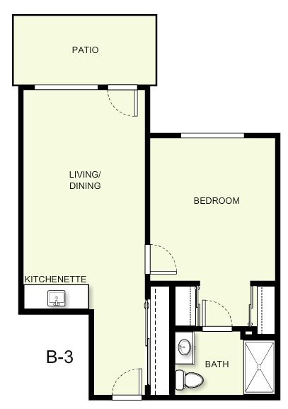 601 sq. ft. B3 floor plan