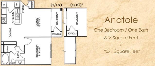 665 sq. ft. 11B floor plan