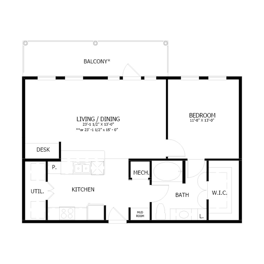 864 sq. ft. A7 floor plan