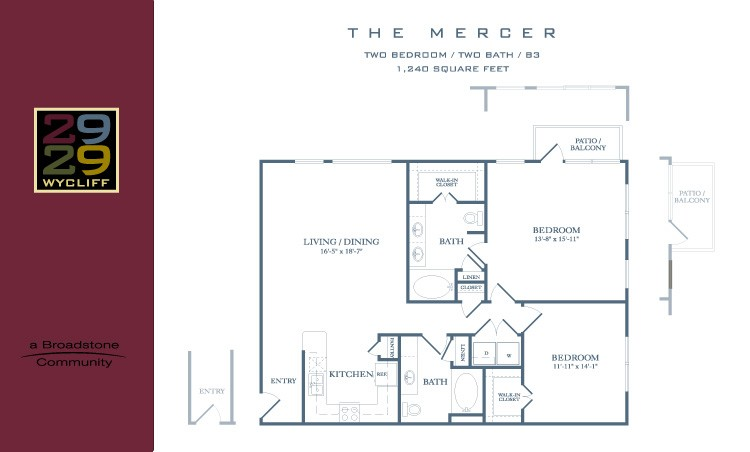 1,240 sq. ft. Mercer floor plan