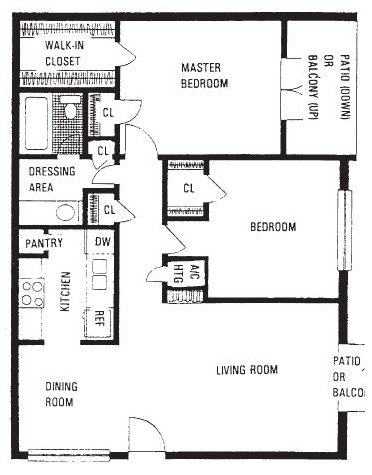 865 sq. ft. B floor plan