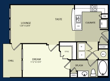 724 sq. ft. A1 floor plan