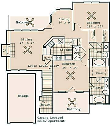 1,364 sq. ft. Houdini floor plan