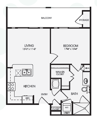 638 sq. ft. Central/A1B floor plan