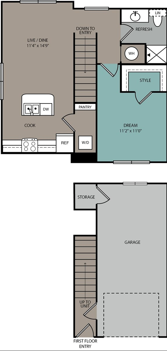 720 sq. ft. Carriage floor plan