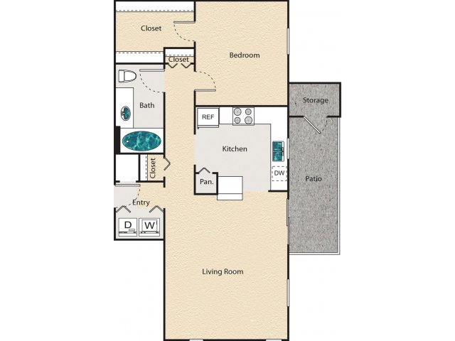 787 sq. ft. E - Hampshire floor plan