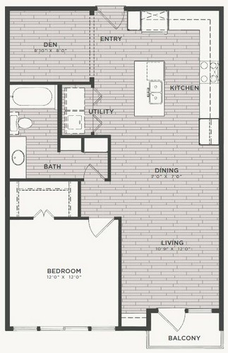 856 sq. ft. A4 floor plan