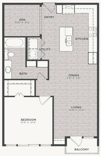 856 sq. ft. A4 floor plan