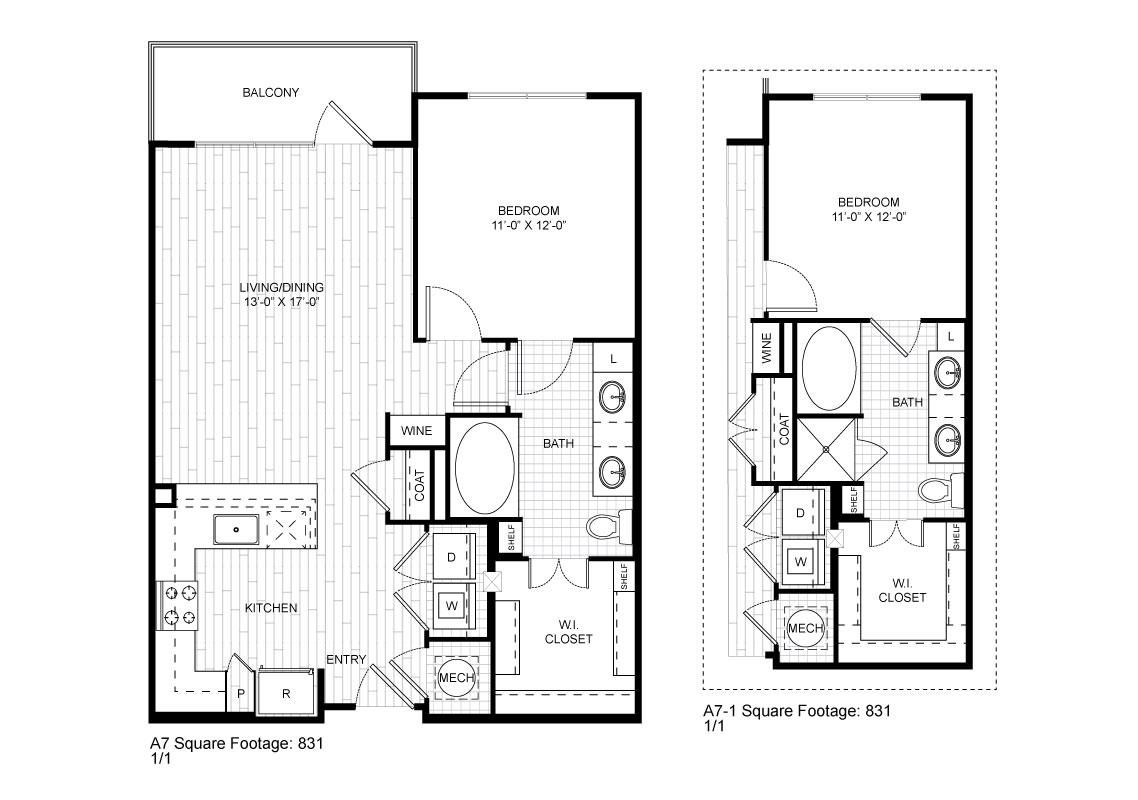 764 sq. ft. A7 floor plan