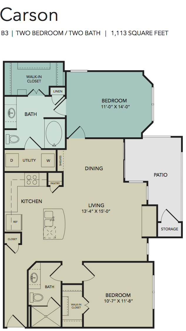 1,113 sq. ft. Carson floor plan
