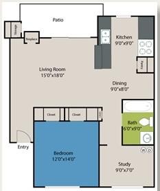 771 sq. ft. Norwich floor plan