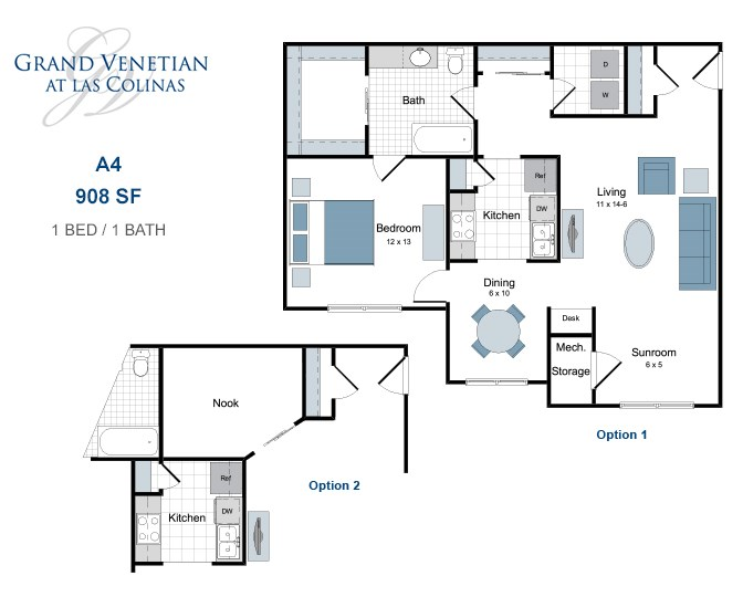 908 sq. ft. A4 floor plan