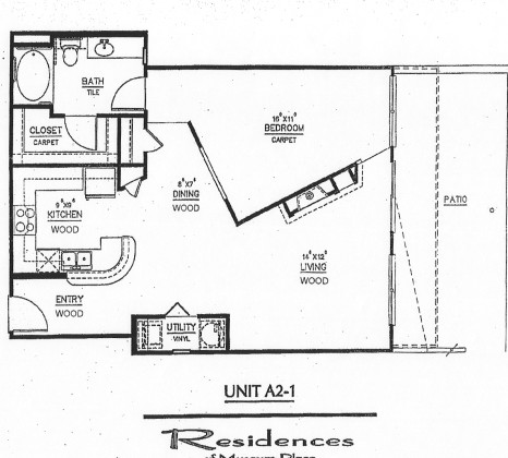 873 sq. ft. A2.1 floor plan