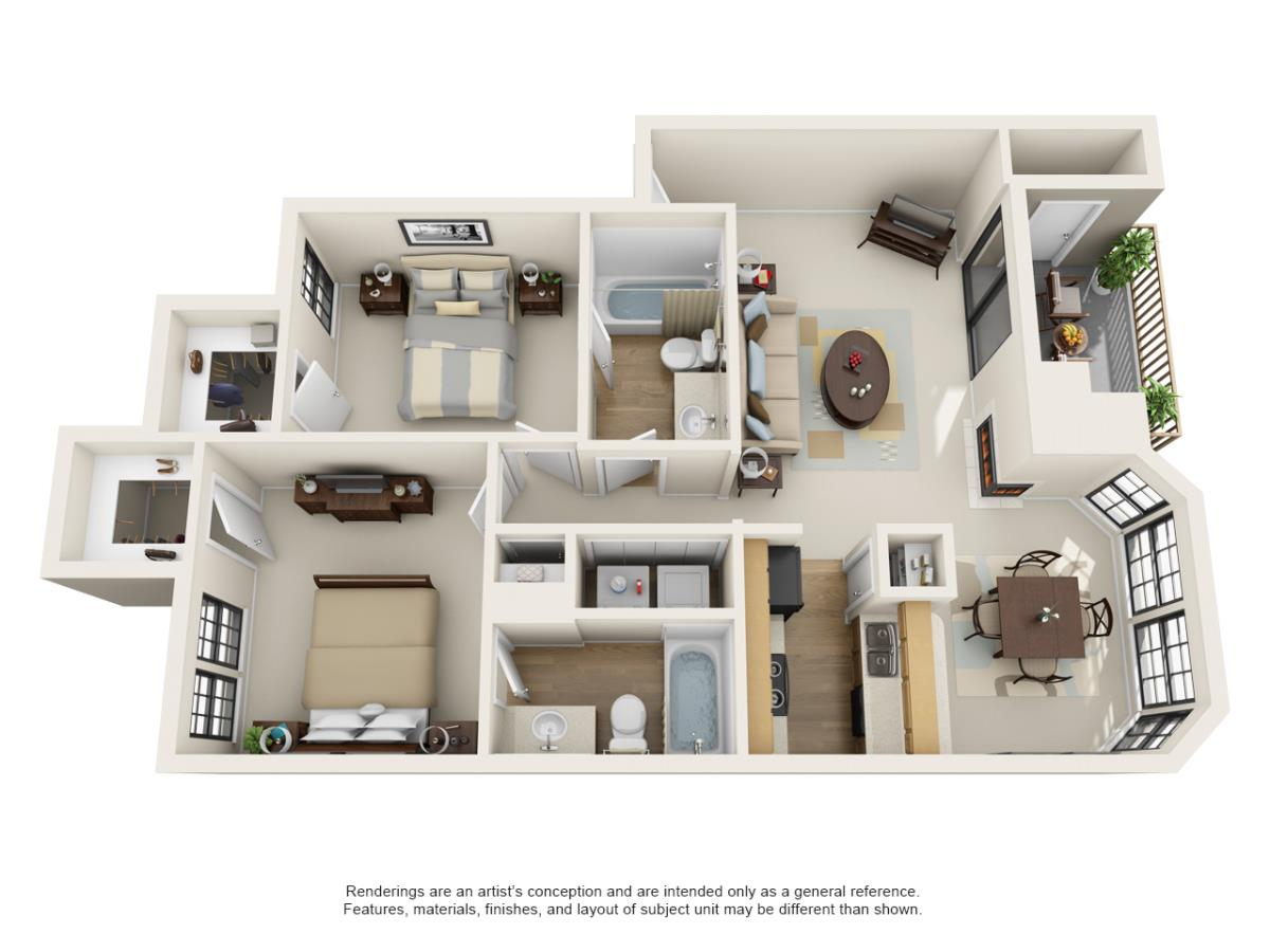 905 sq. ft. B1 floor plan