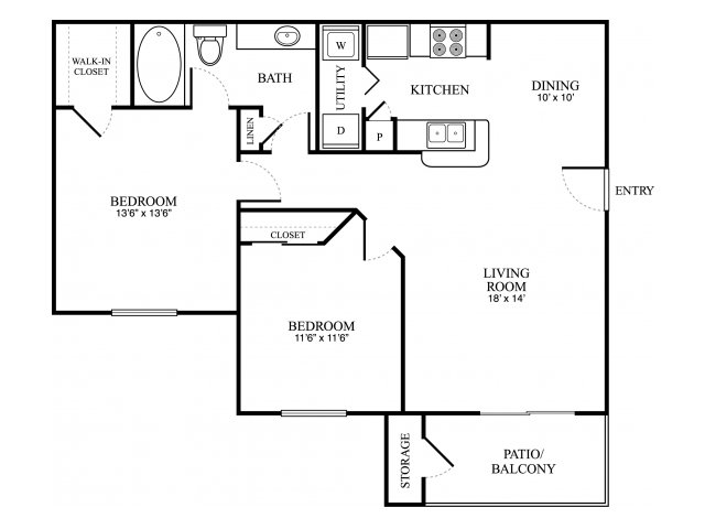 882 sq. ft. D floor plan