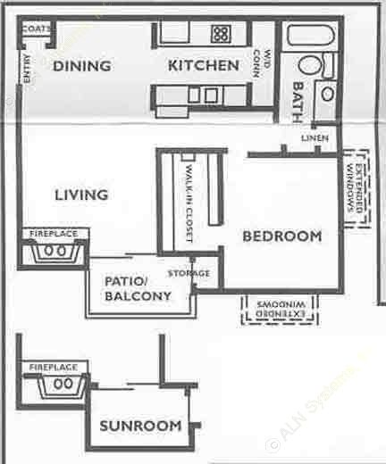 678 sq. ft. A3 floor plan