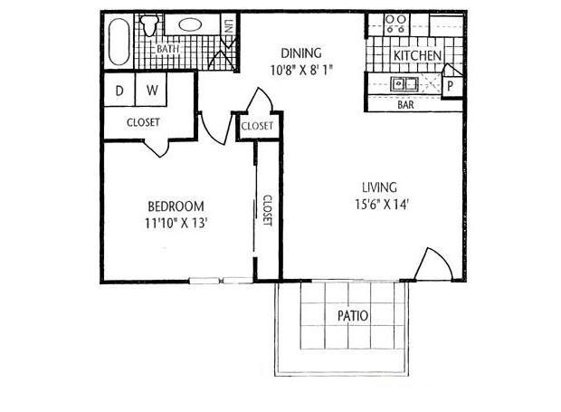 800 sq. ft. A-3 floor plan