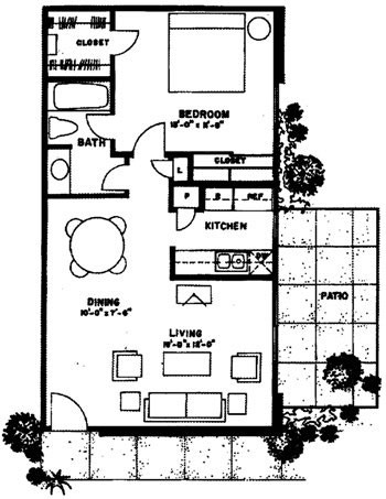 700 sq. ft. Cozumel floor plan