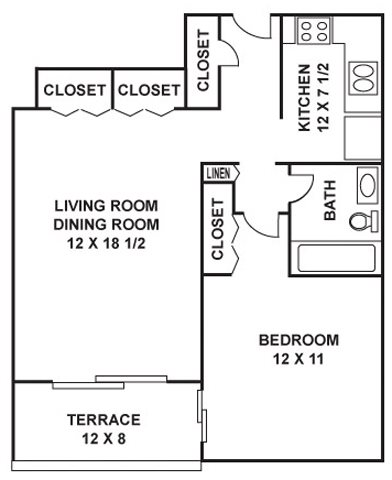 722 sq. ft. Akard floor plan