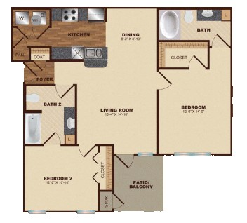 1,023 sq. ft. B3 floor plan