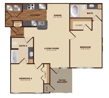 1,023 sq. ft. B3 floor plan