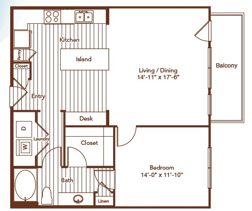 906 sq. ft. floor plan