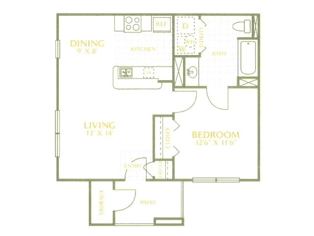 628 sq. ft. 50% floor plan