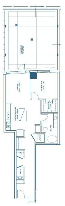871 sq. ft. A6 floor plan