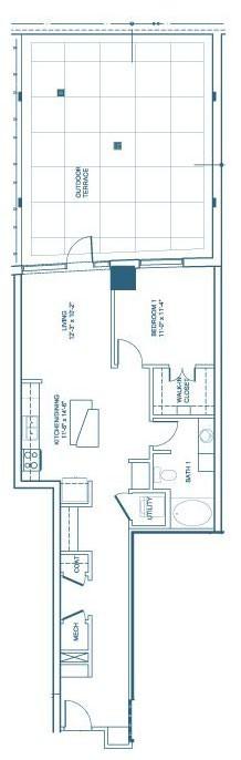 871 sq. ft. A6 floor plan