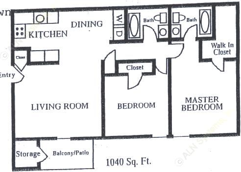 1,040 sq. ft. B-3 floor plan
