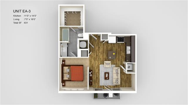 631 sq. ft. EA3 floor plan