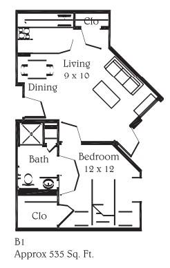535 sq. ft. B1 floor plan
