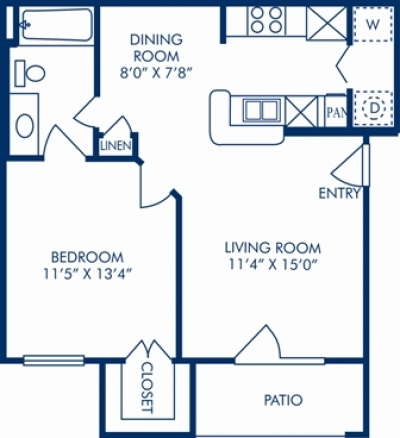 618 sq. ft. B floor plan
