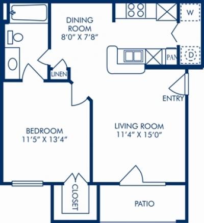 618 sq. ft. B floor plan