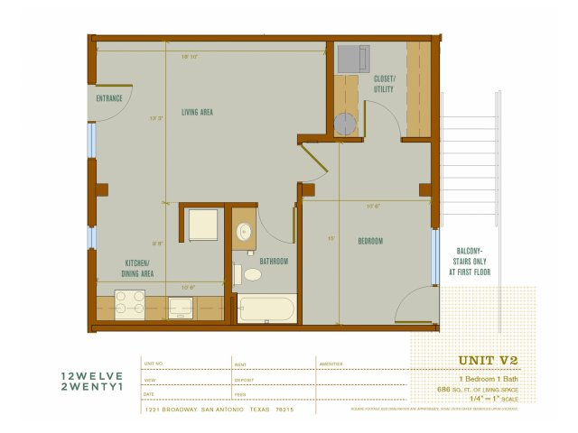 686 sq. ft. V2 floor plan