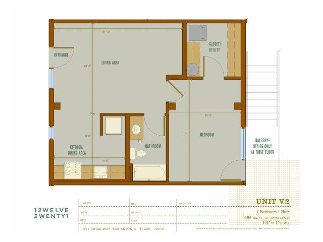 686 sq. ft. V2 floor plan