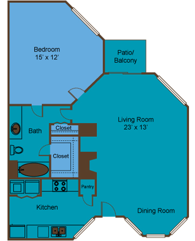 718 sq. ft. A5 floor plan