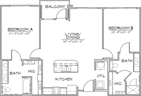 1,066 sq. ft. B3-5 floor plan