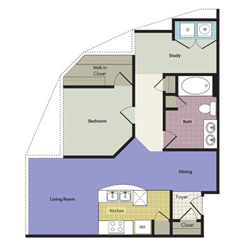 1,075 sq. ft. Marsala floor plan